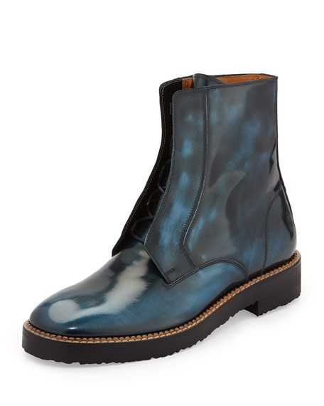Brushed Leather Ankle Boot, Blue