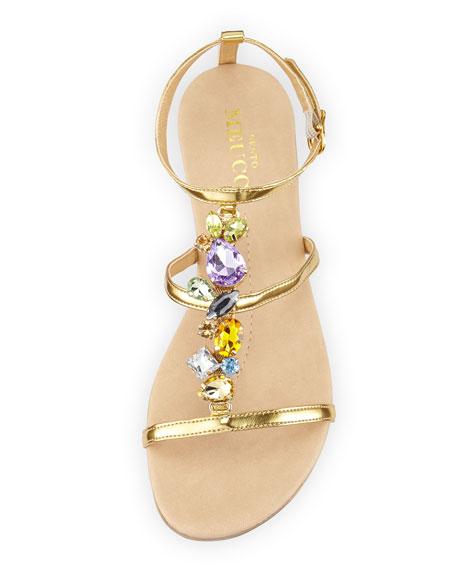 Calley Rhinestone-Embellished Sandal, Gold