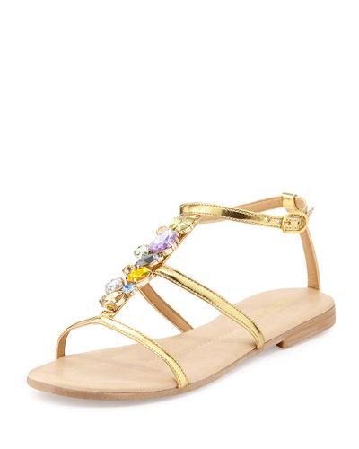Sesto Meucci Calley Rhinestone-Embellished Sandal, Gold