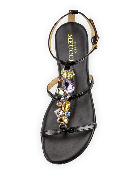 Calley Rhinestone-Embellished Sandal, Black