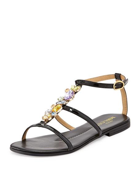 Calley Rhinestone-Embellished Sandal, Black