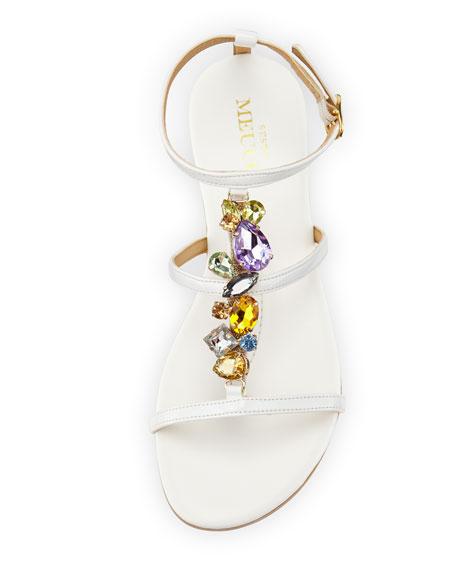 Calley Rhinestone-Embellished Sandal, White