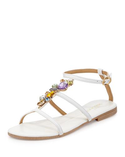 Sesto Meucci Calley Rhinestone-Embellished Sandal, White