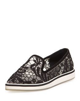 Nicholas Kirkwood Lace Point-Toe Loafer, Black