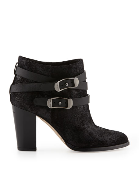 Melba Glossy-Heel Ankle Boot