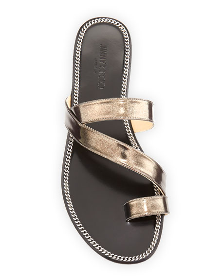 Noosa Strappy Metallic Slide, Anthracite