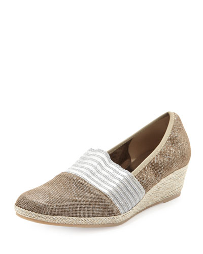 Sesto Meucci Malina Metallic Slip-On Wedge, Tortora