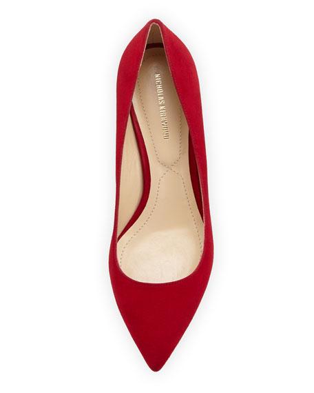 Suede Triangle-Heel Pump, Dark Red