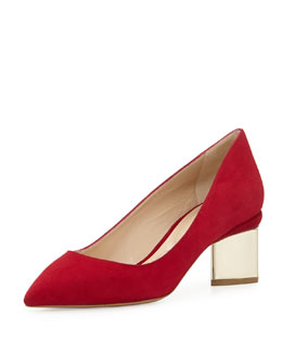 Nicholas Kirkwood Suede Triangle-Heel Pump, Dark Red