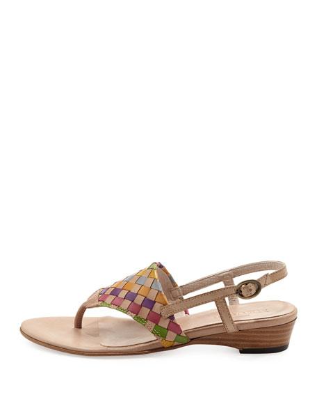 Gilda Woven Thong Sandal, Natural