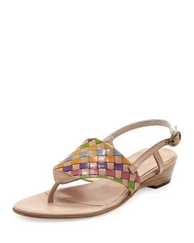Sesto Meucci Gilda Woven Thong Sandal, Natural