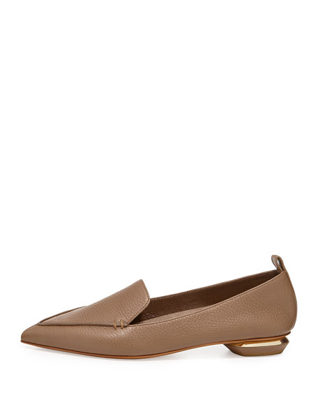 Pebbled Point-Toe Loafer, Taupe