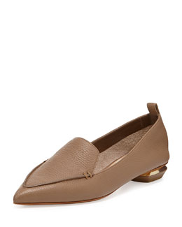 Nicholas Kirkwood Pebbled Point-Toe Loafer, Taupe