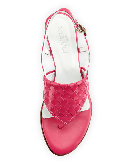 Gilda Woven Thong Sandal, Fuchsia