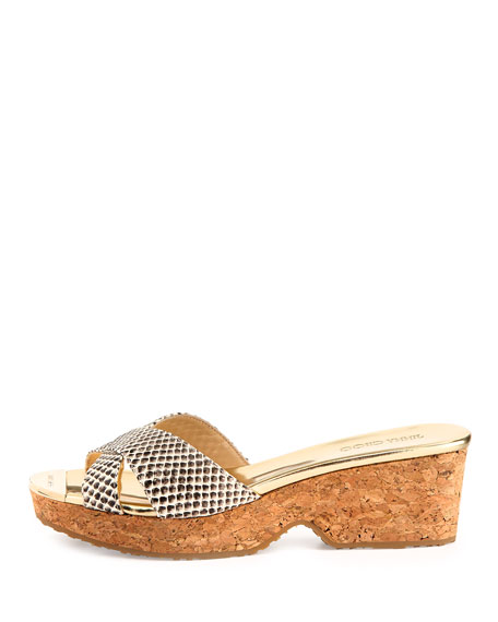 Panna Snake-Print Crisscross Slide, Natural