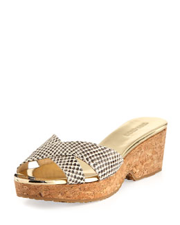 Jimmy Choo Panna Snake-Print Crisscross Slide, Natural