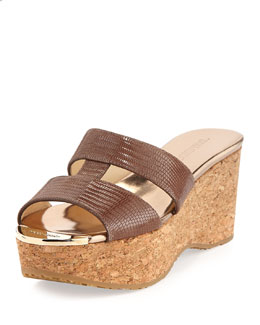 Jimmy Choo Patina Lizard-Print Wedge Slide, Sand
