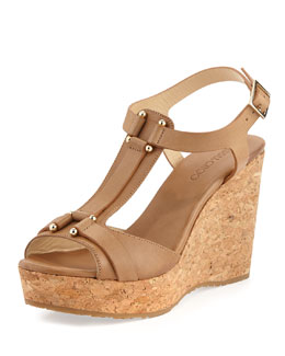 Jimmy Choo Pilar T-strap Leather Cork Wedge, Nude