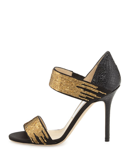 Tallow Sequined Snakeskin Sandal, Black/Gold