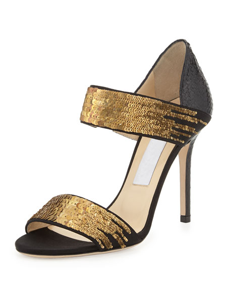 Jimmy Choo Tallow Sequined Snakeskin Sandal, Black/Gold