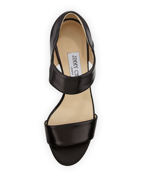 Tesoro Leather Band Sandal, Black