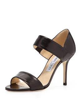 Jimmy Choo Tesoro Leather Band Sandal, Black