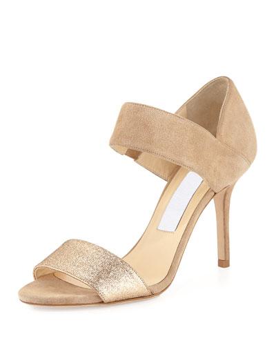 Tesoro Suede & Glitter Sandal, Nude