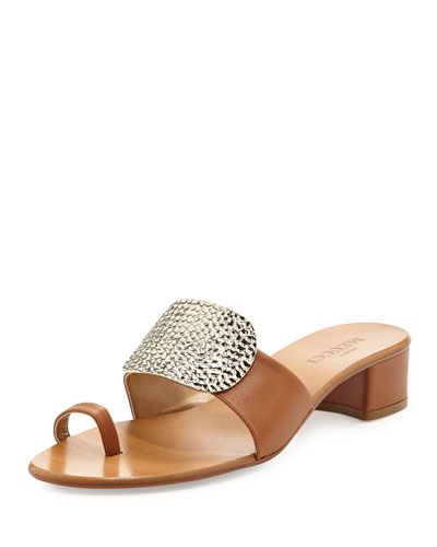 Sesto Meucci Ginet Metal-Detail Sandal, Cuoio