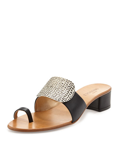 Sesto Meucci Ginet Metal-Detail Sandal, Black