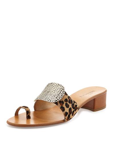 Sesto Meucci Ginet Metal-Detail Leopard-Print Sandal
