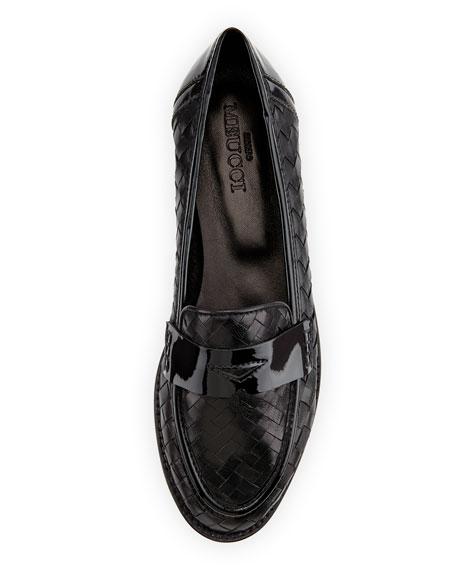 Nattie Woven Leather Loafer, Black