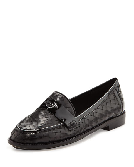 Nattie Woven Leather Loafer, Black