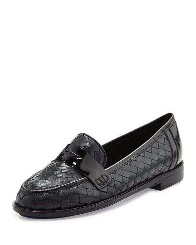 Nattie Woven Leather Loafer, Navy