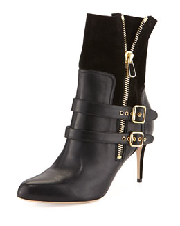 Paul Andrew Clio Double-Buckled Ankle Boot, Black