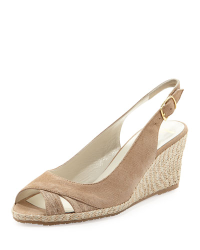 Sesto Meucci Barbie Metallic Slingback Wedge, Beige