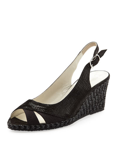 Sesto Meucci Barbie Metallic Slingback Wedge, Black