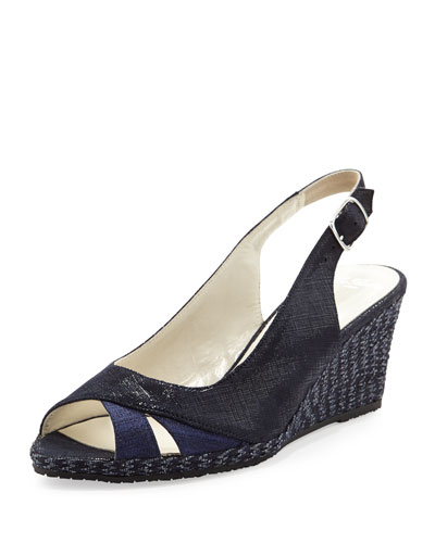 Sesto Meucci Barbie Metallic Slingback Wedge, Navy
