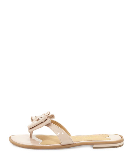 Ines Patent Bow Thong Sandal, Pink