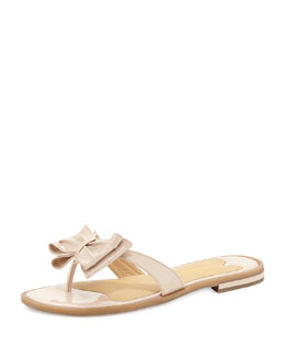 Sesto Meucci Ines Patent Bow Thong Sandal, Pink