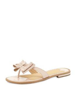 Sesto Meucci Ines Patent Bow Thong Sandal, Pink