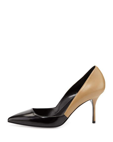 Colorblock Point-Toe Pump, Black/Camel