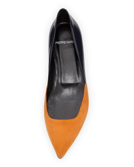 Suede/Leather Point-Toe Ballerina Flat, Orange/Navy