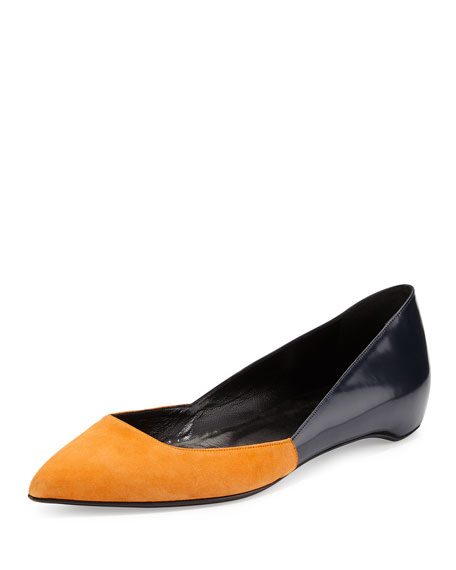 Suede/Leather Point-Toe Ballerina Flat, Orange/Navy