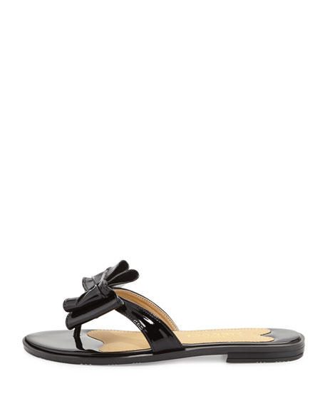 Ines Patent Bow Thong Sandal, Black