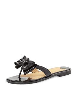 Sesto Meucci Ines Patent Bow Thong Sandal, Black