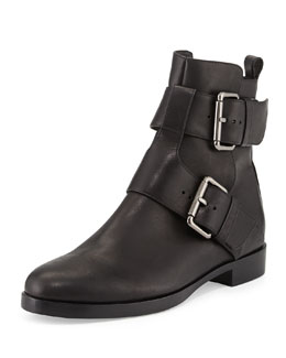 Pierre Hardy Double-Buckle Leather Ankle Boot, Black