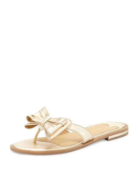 Ines Metallic Bow Thong Sandal, Platino