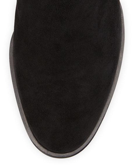 Suede Mid-Heel Knee Boot, Black