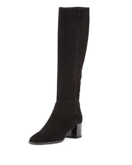 Pierre Hardy Suede Mid-Heel Knee Boot, Black