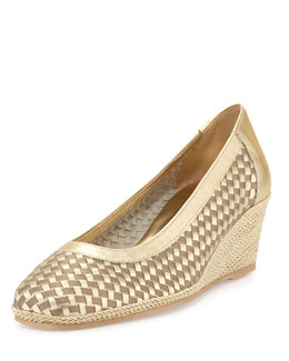 Sesto Meucci Malva Woven Leather Wedge Pump